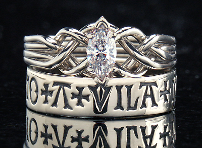 """Marquise Diamond Puzzle Ring with """"here is my heart, guard it well"""" French Poesy Ring"""