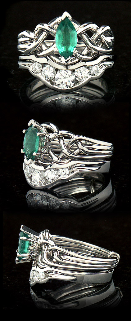 Marquise Emerald Puzzle Ring with Diamond Companion Band