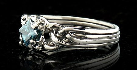Guinevere blue diamond puzzle ring - puzzle engagement ring