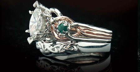Marquise diamond puzzle ring with Celtic knotwork shadow band