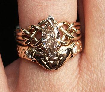 1CT range marquise diamond puzzle ring with optional diamond claddagh band