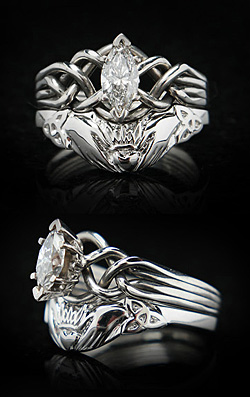 Hand-woven, marquise diamond puzzle ring with custom claddagh/trinity knot tapered wedding band