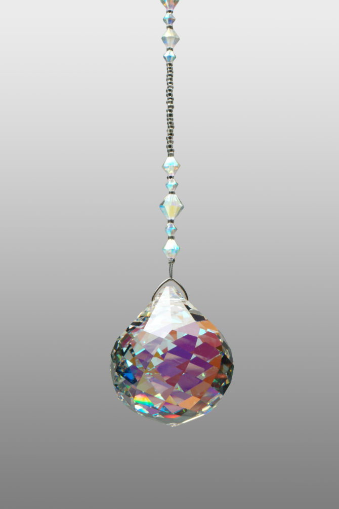 40mm AB twisted faceted ball suncatcher with bead hanger length of your choice