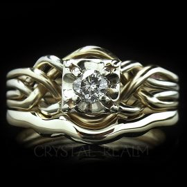 Hand-woven four band puzzle ring with quarter carat round diamond and 2mm shadow band in 14k yellow gold