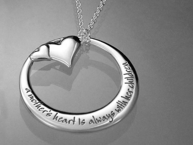 'A Mother's Heart is Always With Her Children' Sterling Silver Necklace