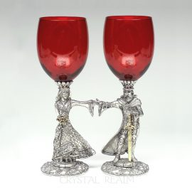 Arthur and Guinevere red toasting glasses in pewter with 23k gold trim and austrian crystals
