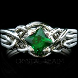 Avalon puzzle engagement ring with princess cut tsavorite green garnet and palladium