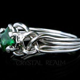 Princess-cut green garnet on palladium four piece puzzle ring
