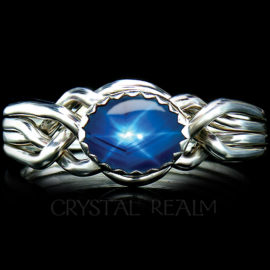 avon oval puzzle ring blue star sapphire