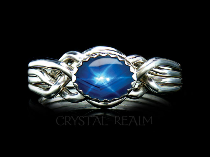 Avon Oval Puzzle Ring with Synthetic or Genuine Star Sapphire