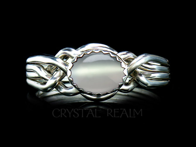 Avon Oval Puzzle Ring in Sterling Silver with Moonstone