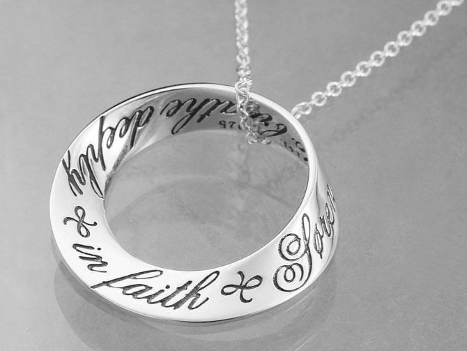 'O God teach me to breathe deeply in faith' Sterling Silver Posy Necklace