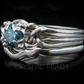 Celtic Engagement Ring - Blue Diamond Puzzle Ring with 1.65 mm Shadow Band