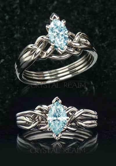 Marquise aquamarine engagement puzzle ring in palladium or platinum