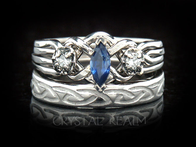 Four band puzzle ring with sapphire and diamonds and Celtic knot wedding band