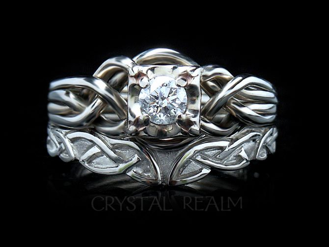 A Celtic bridal set with a round diamond on a four-band puzzle ring and a Celtic wedding band