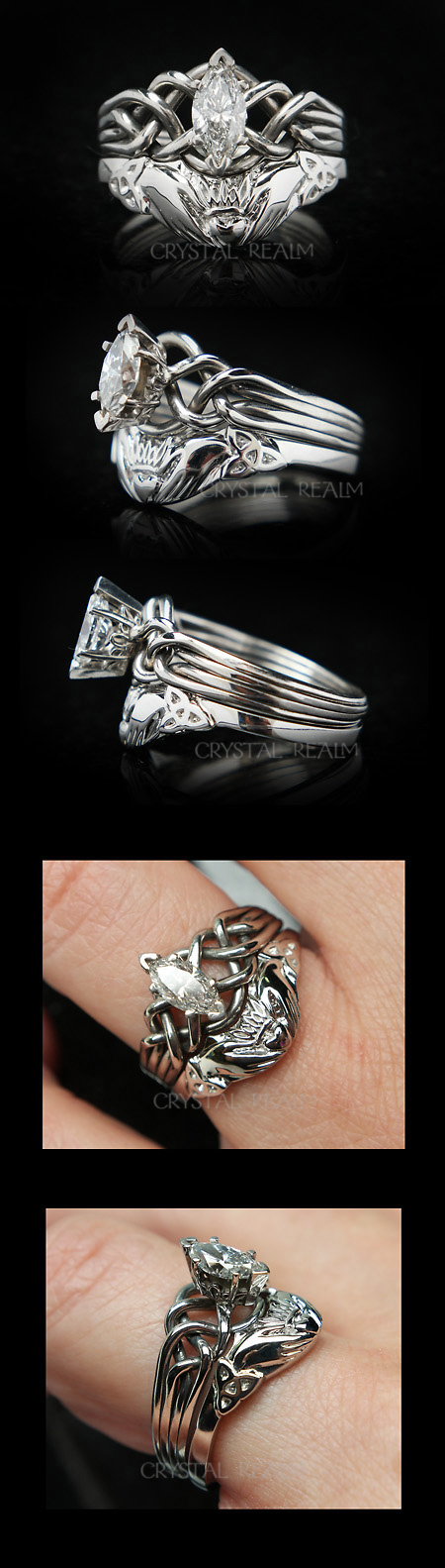 Marquise diamond four band puzzle ring with Celtic claddagh wedding ring