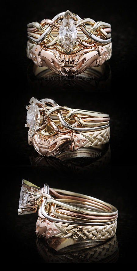 Marquise diamond puzzle ring in four colors of 14K gold is paired with a Celtic claddagh and trinity knot shadow wedding ring.