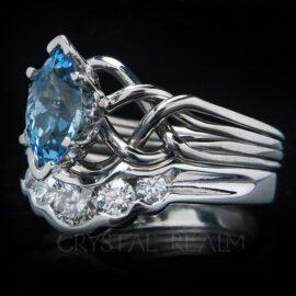 Marquise aquamarine four band puzzle engagement ring with 5-diamond shadow wedding ring