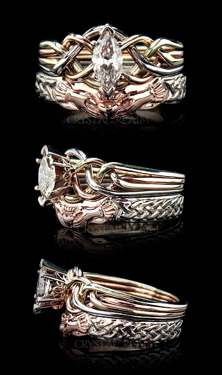 Celtic knotwork bridal set with marquise diamond four band puzzle ring and two tone Celtic claddagh shadow ring