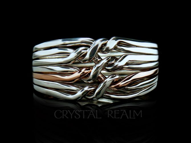 7 band chain puzzle ring with one 14k rose gold band