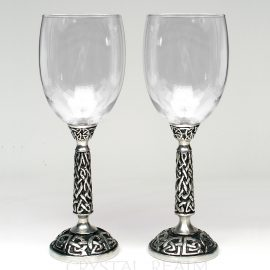 Celtic wine glass or communion glass in clear