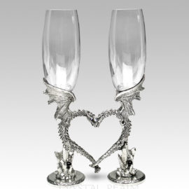 Dragon heart champagne flutes with Austrian crystals