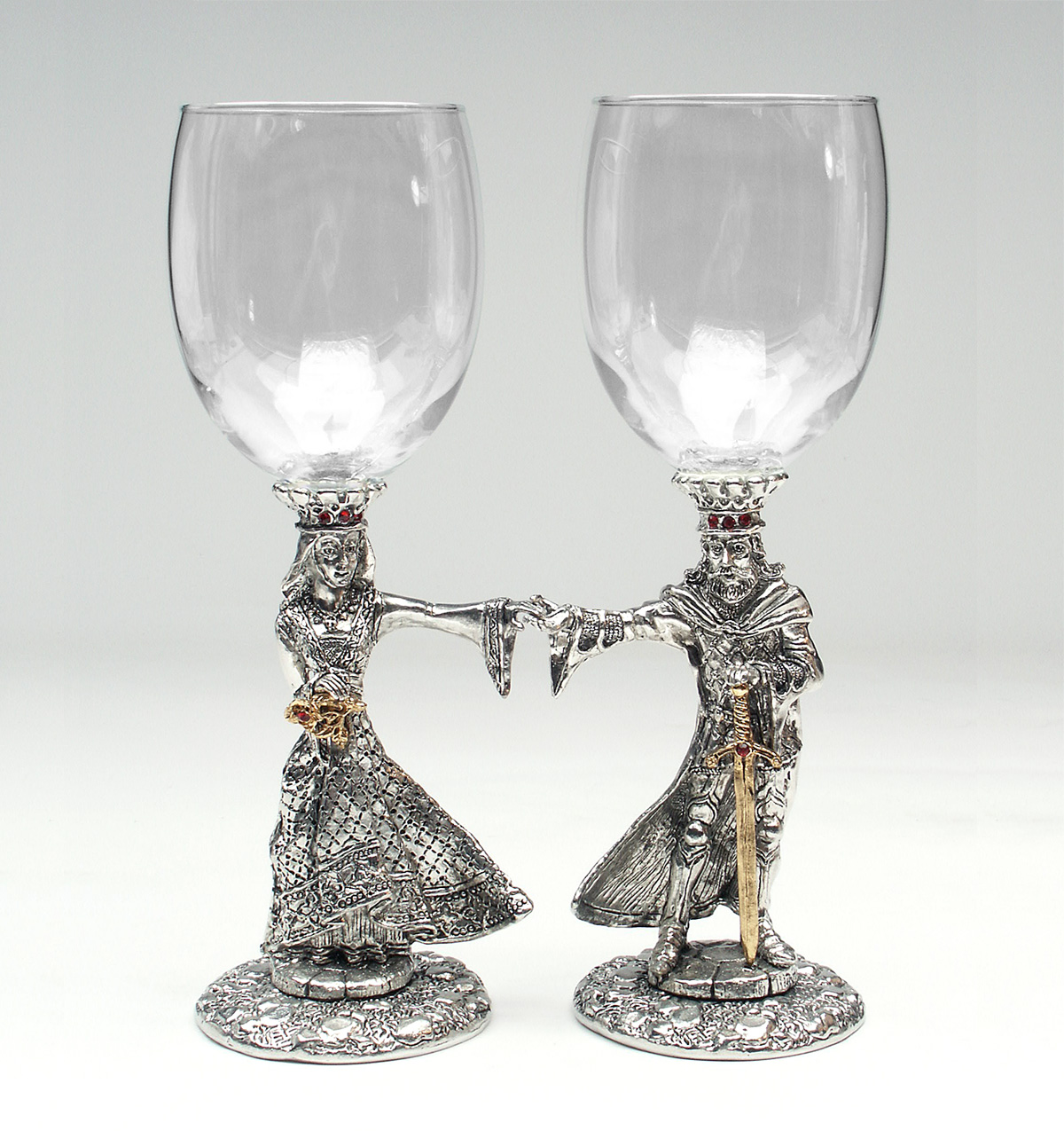Clear wine glasses with Arthur and Guinevere stems, Austrian crystals, and 23k gold accents