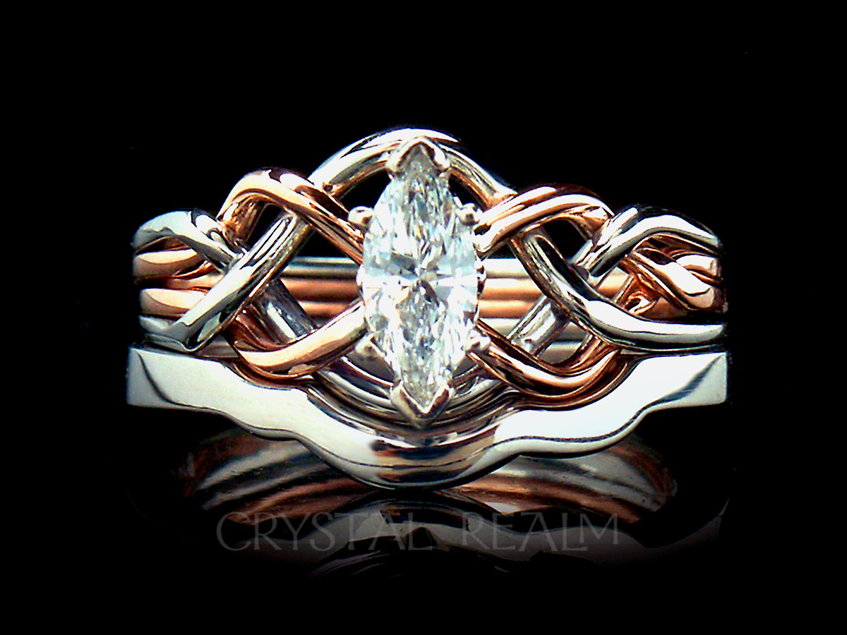 Marquise diamond puzzle ring with 1.7mm shadow band