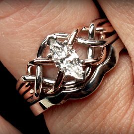 Celtic Bridal Set: Marquise Diamond Puzzle Ring with Shadow Band