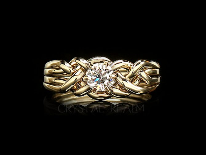 Athena four piece puzzle ring with half carat round diamond and 14k yellow gold