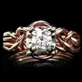 Four piece puzzle ring with round diamond