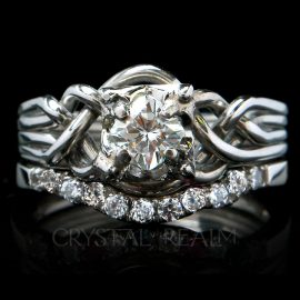 Four piece puzzle ring with princess cut diamond and 11-diamond shadow wedding ring