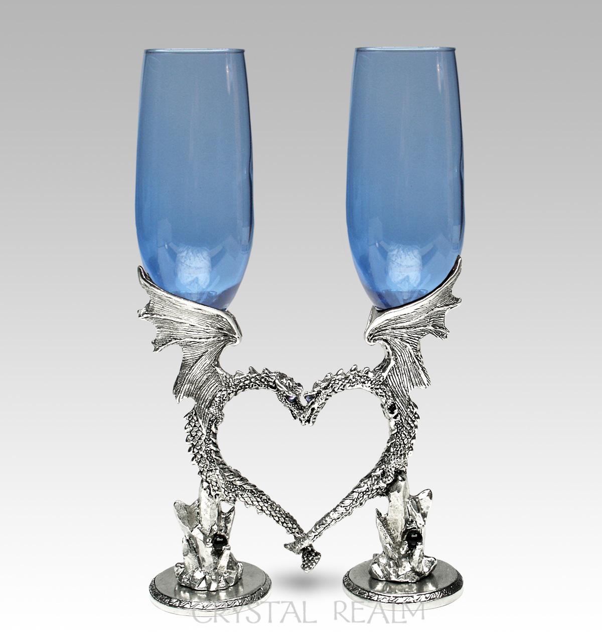 Sapphire blue dragon heart toasting glasses