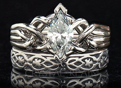 Marquise diamond puzzle ring with yovrs onli posy ring in white gold