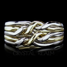 5 piece puzzle ring in chain style and two bands 14k yellow and 3 bands your choice of white metal