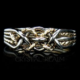 Five piece puzzle ring with a twisted yellow gold 'x' in medium weight is a difficult puzzle