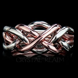 4 piece puzzle ring in 14k rose and white gold and heavy weight