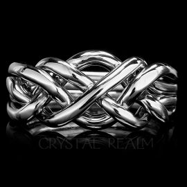 four band puzzle ring heavy weight open weave ss