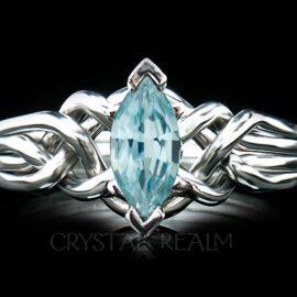 marquise aquamarine 4 piece puzzle ring in your choice of precious metals