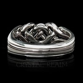Chatham Four-Band Puzzle Ring, Medium-Heavy Weight shown in 14K White Gold, Tight Weave with Option Choices