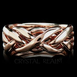 four band puzzle ring ultra heavy weight 14k rg