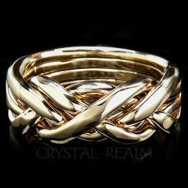 Men's 4 band puzzle ring in ultra-heavy weight 14k yellow gold