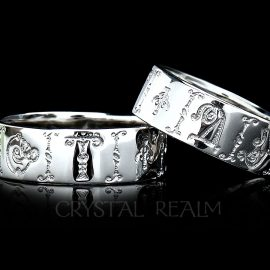 'Ot dushi,' Russian for 'from my soul,' 14k white gold posy ring