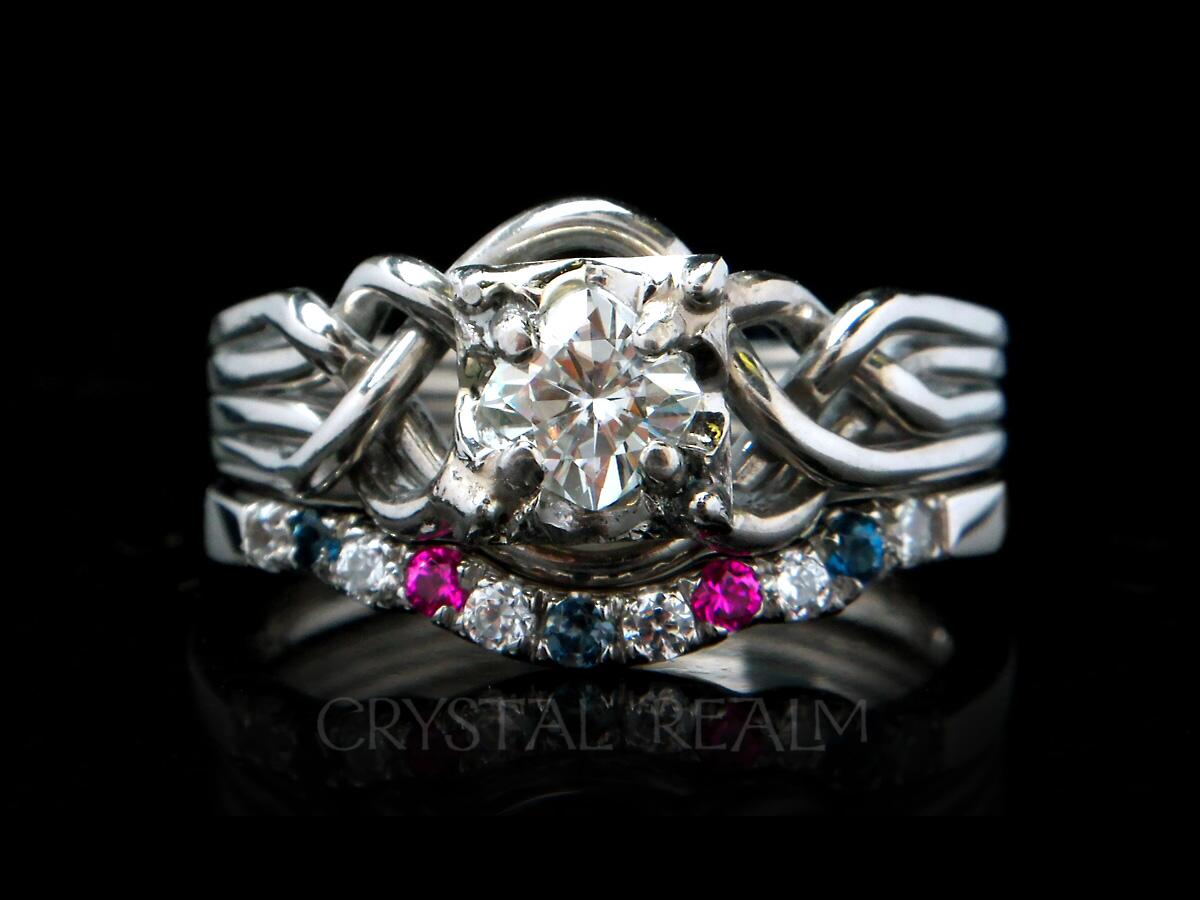 princess cut 4 piece puzzle ring with gemstone shadow wedding band