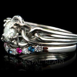 bridal set with 4 band puzzle ring and gemstone wedding band