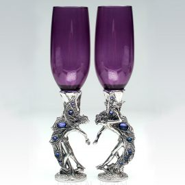Girl-boy purple champagne flutes with fairies in a heart shape