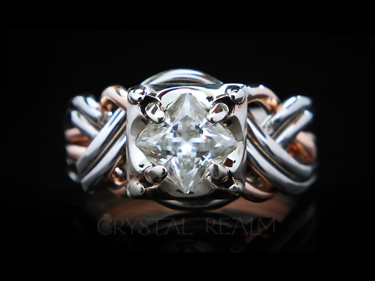 guinevere six piece puzzle ring with princess cut diamond in 14k rose gold and palladium