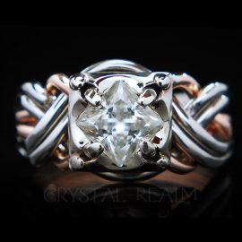 six band puzzle ring with princess cut diamond in rose gold and palladium