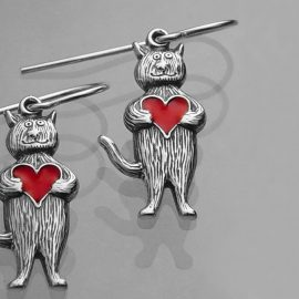 heart cat earrings sterling silver and enamel